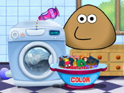 Pou Washing Clothes Game